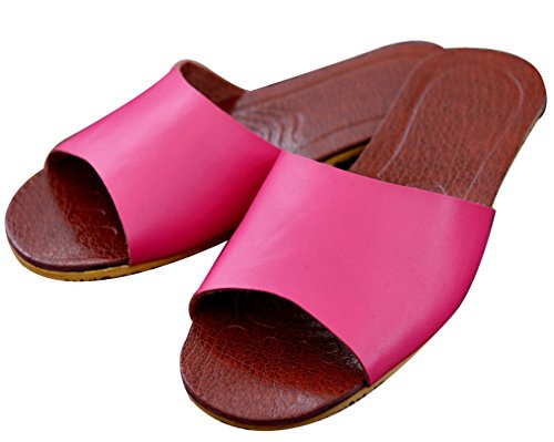 Blubi Womens Summer Candy Color Comfortable Leather Slippers Ladies Slippers Rose 7nuAfQ