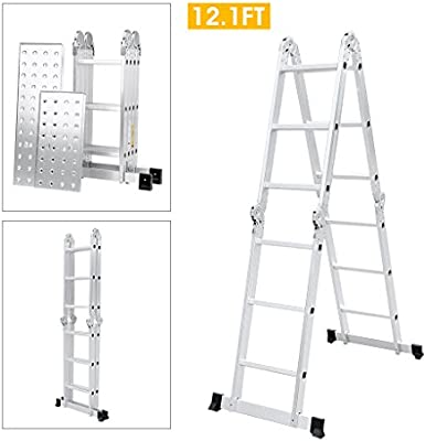 Finether Escalera plegable multifunción, extensible y polivalente: Amazon.es: Bricolaje y herramientas