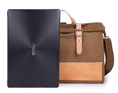 Izacu Flocc-BUG Lona bolso mensajero bolsa para hombre bolso de escuela (40*29*10cm, green) coffee