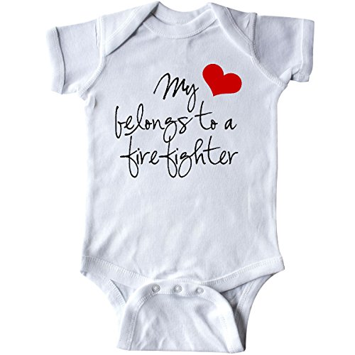 inktastic Heart Belongs Firefighter Infant Creeper 6 Months White