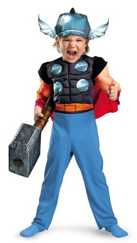 Marvel Super Hero Squad Thor Toddler Muscle Costume, Blue/Red/Aqua, (Thor Baby Costume)
