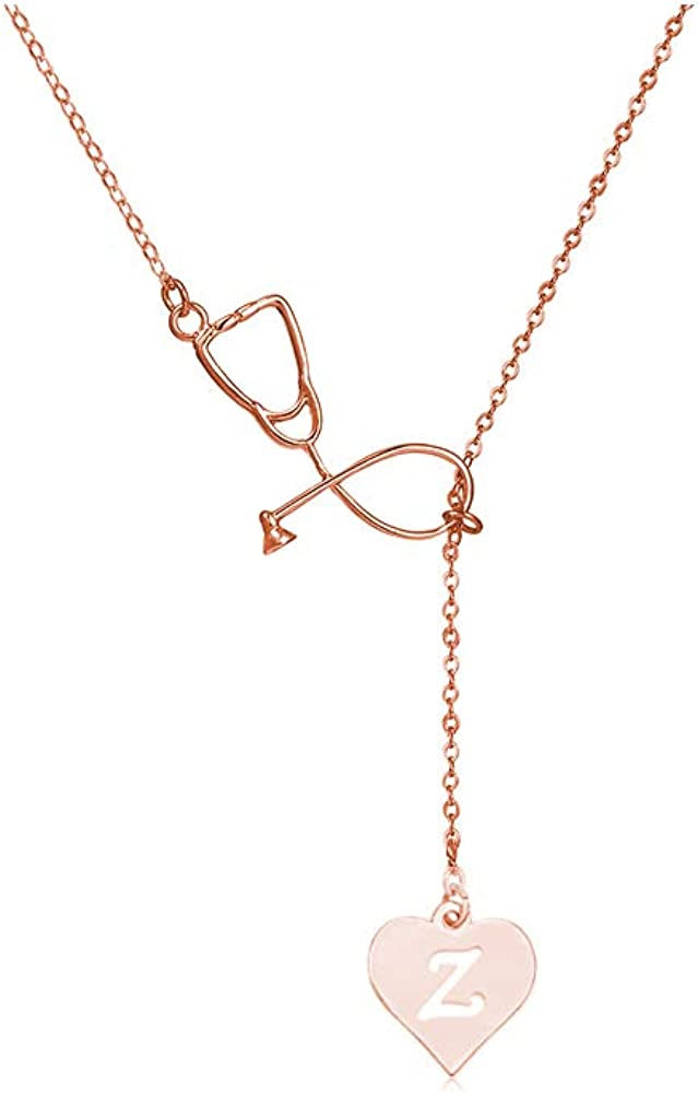 T Gold Pink Box Infinity Heart Initial Necklace