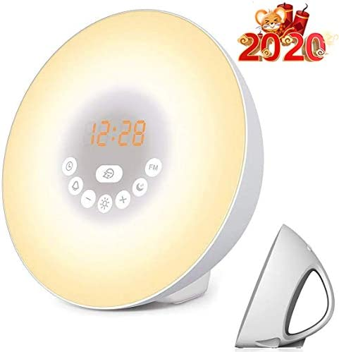 Sunrise Alarm Clock, Nature Light Sunrise Simulation Clock Touch Control Night Light for Bedrooms, FM Radio Wake Up Light with 7 Colored 6 Natural Sound for Sleep Kids,Adults White
