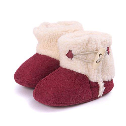 Butterme Winter Warm Baby Plüsch Schnee Stiefel Soft Sole Anti-Rutsch Prewalker Krippe Schuhe für Neugeborene Kinder Jungen Mädchen, Kakhi, Gr. 11cm(0-6months) Rot