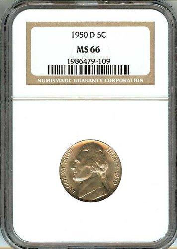 1950-D Jefferson US Nickel .05c Cents Bu NGC Certified MS66 (Nickel Ngc Jefferson Mint)