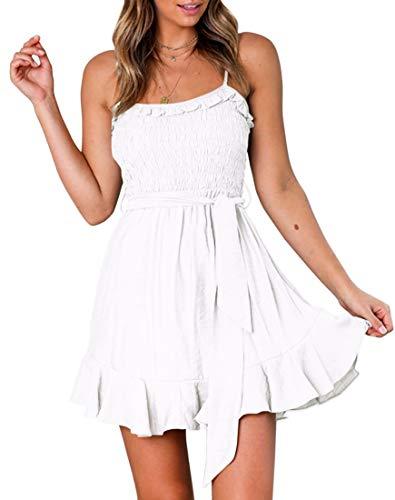 White Color Dresses - YIBOCK Women's Summer Spaghetti Strap Solid Color Ruffle Hem Tie Waist Backless Mini Dress (White, L)