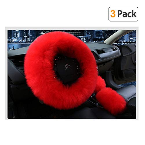 Younglingn Car Steering Wheel Cover Gear Shift Handbrake Fuzzy Cover 1 Set 3 Pcs Multi-colored with Winter Warm Pure Wool Fashion for Girl Women Ladies Universal Fit Most Car (Red)