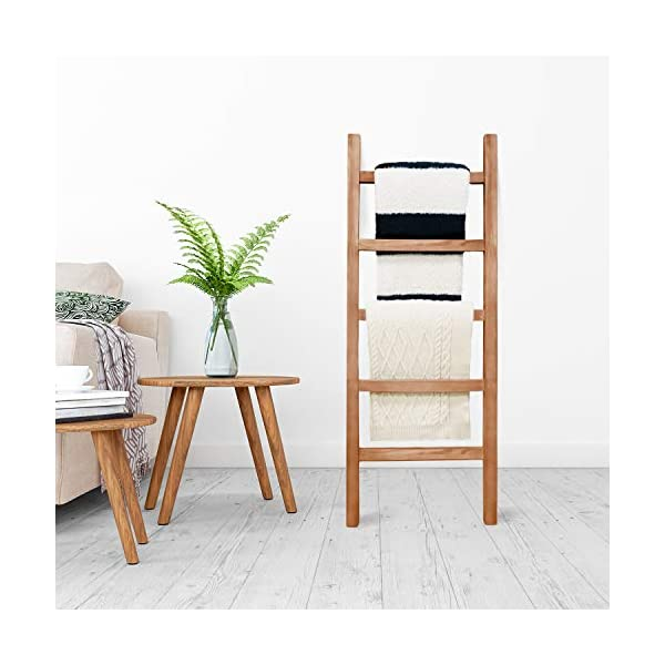 SoFlo Rustic Blanket Ladder - Modern Wooden Ladder - Neutral Color - Trendy Decor - Quilt Holder - Towel Organizer…
