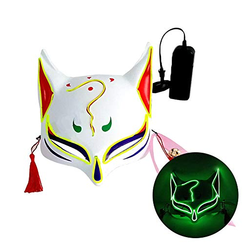 L'VOW Halloween Fox Mask LED Light Up Japanese Kabuki Masks for Festival Cosplay Costume Props (Lime Green)
