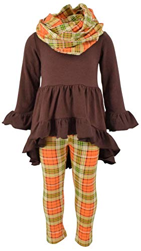 Unique Baby Girls 3 Piece Fall Colors Thanksgiving Legging Set (6) Brown