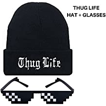Thug Life Beanie & Deal With IT Glasses Combo/Adjustable Cuff (Unisex) Warm, Stretch, Soft and Comfy For Active or Casual Street Wear In Spring, Fall, and Winter (Thug Life/Black)