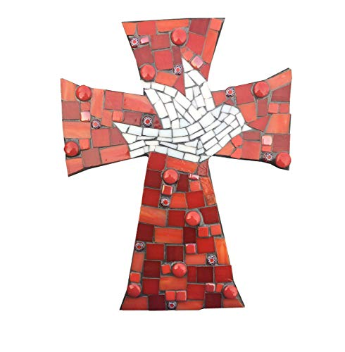 - Handcrafted Mosaic Dove Wall Cross, Assorted stained glass with charcoal colored grout