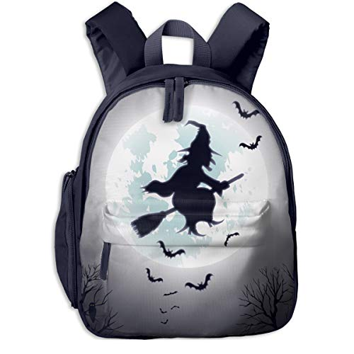 Halloween Decor Witch Flying Double Zipper Waterproof Children Schoolbag With Front Pockets For Kids Boy Girls