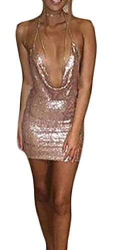 Dress Pleated Sleeveless Rose Sequins Color Solid Cruiize Gold Womens Backless Mini Halter 4nzqAwBx