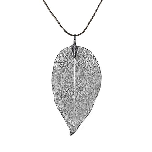 Women's Real Natural Filigree Leaf Long Pendant Necklace Costume Jewelry by Kimloog (Black)
