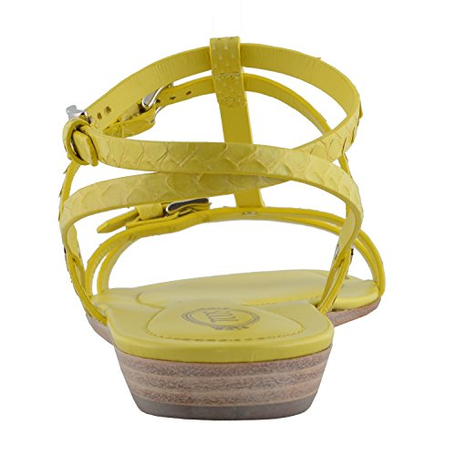 US 10 Strappy IT Snake Women's Skin 40 Tod's Yellow Shoes Sandals WqZ80UaUw