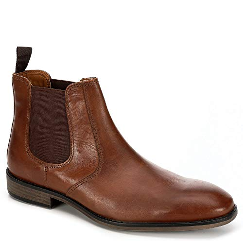Franco Fortini Mens Trevor Chelsea Leather Ankle Boot Shoes, Brown, US 10