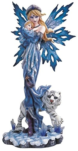 StealStreet Blue Fairy with Baby and White Tiger Collectible Figurine Decoration (Fairy Figurines Collectible)