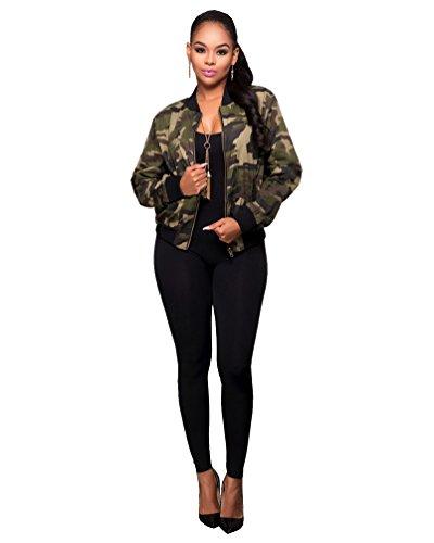 YOUJIA Femmes Classic Camouflage Baseball Jackets Arme Militaire Camo Bomber Jacket Manteau Blouson Camouflage
