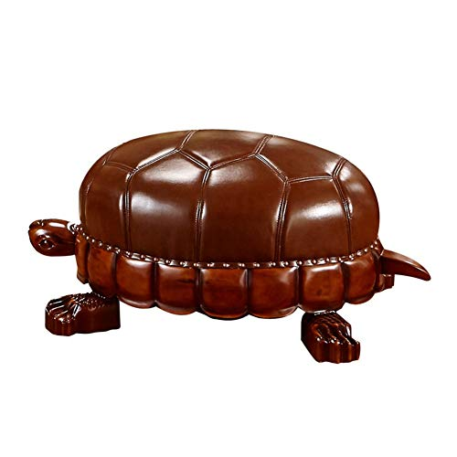 (ZKKZ-CHAIRS Foot Stool Ottoman Cowhide All Solid Wood Turtle Stool European Leather Lucky Turtle Sofa Stool High-end Shoes Bench Living Room Decoration)