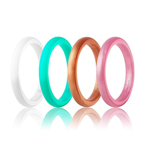 Beilove Women's Thin and Stackable Silicone Wedding Rings,4 Ring Pack