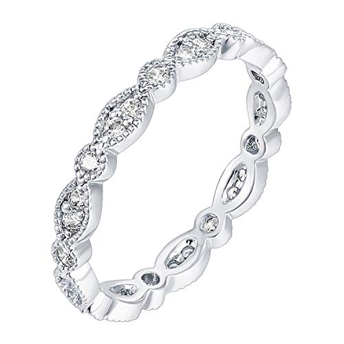 PAVOI 14K White Gold Plated Sterling Silver Rings Cubic Zirconia Band   Round Milgrain Eternity Bands   White Gold Rings for Women Size 9 (14k Or 18k White Gold For Engagement Ring)