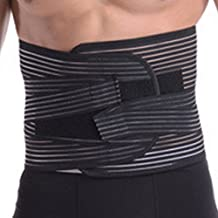 PANEGY Men & Women Adjustable Waist Trimmer Belt Stomach Body Wrap Protecting Stretchy Back Lumbar Support Waistband Belly Fat Burning Fitness Belt Size L - Black
