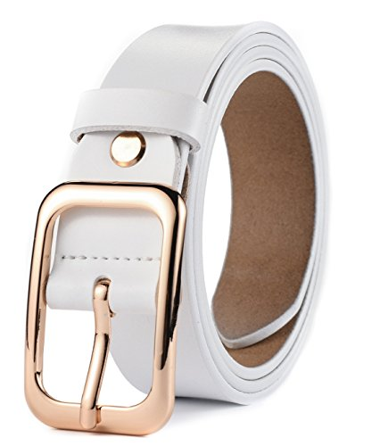White Genuine Belt (Ayli Women's Jean Belt, Gold Color Classic Buckle Genuine Leather Belt, Free Gift Box, White, Fits Waist 34