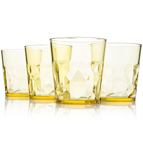 8 oz Premium Juice Glasses - Set of 4 - Unbreakable Tritan Plastic - BPA Free - 100% Made in Japan (Yellow) (Small Martini Pitcher compare prices)