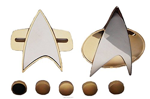 Star Trek Next Generation & Voyager 7 Piece MAGNETIC COMMUNICATOR PINS & RANK PIP SET (Star Trek Voyager Costume)