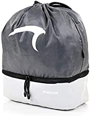 Mintra Sports Drawstring Bags - (Grey/Grey, Stellar (12in x 18in)) Backpack, Cinch Sackpack, Bag, String, Sports, Gym, Waterproof, Unisex, Used for Gym, Sport, Workout