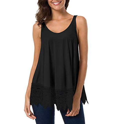 Women's Sleeveless Casual Tank Tops Summer Plain Pleated Large Swing Lace Stitching Shirt Tops (Black, M) -