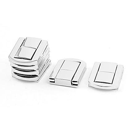 EbuyChX maleta Box 30mm x 25mm Drawbolt aldaba Closure Silver Tone 6PCS
