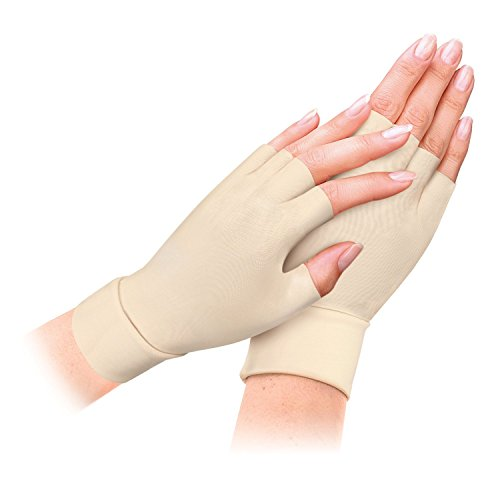 MicroHealthOne Therapeutic Light Compression All Day Arthritis Therapy Gloves, Nude by MicroHealthOne