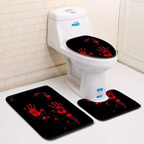 3PCS Bath Mat Set, Jessie storee Halloween Blood Handprint Defile Resisting Bath Rug + Anti-Slip Contour Mat + Toilet Seat Lid Cover Bathroom Door Mat Foot Pad Flannel Absorbent Carpet, H -