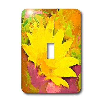 3dRose LLC lsp_32387_1 Decorative Colorful Garden Botanic Plant Southwest Desert Cactus Yellow Gold Red Flower Abstract Single Toggle Switch by 3dRose