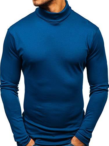 145347 Col 5e5 Basique Pull Bleu À Enfiler Roulé Bolf Homme Efwz0qcq