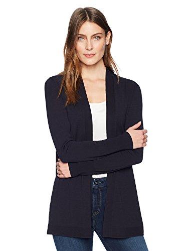 (Lark & Ro Women's Lightweight Long Sleeve Mid-Length Cardigan Sweater, Atlantic Navy, Small)