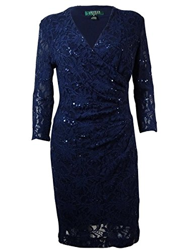 RALPH LAUREN Lauren Women's Ruched Sequin Lace Dress (2, Navy)