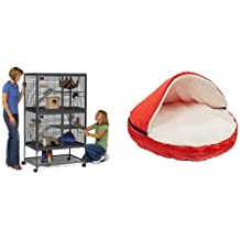 """MidWest Critter Nation Animal Habitat with Stand, Double Unit, 36 Inches by 24 Inches by 63 Inches and Sofantex Plush Pet Bed Cave for Cats and Small to Medium Size Dogs and Cats, Red, 25"""" Bundle"""