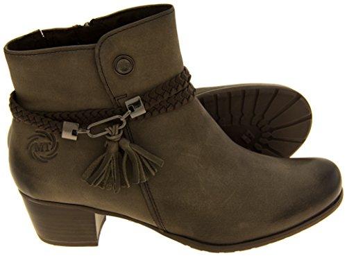Mujeres Marco Tozzi Botas de cuero marrón con cremallera Gris
