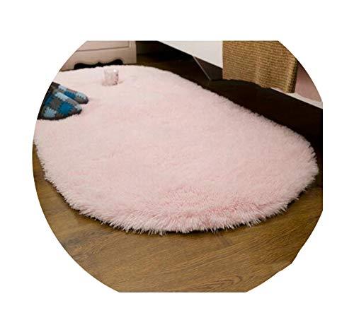 Bedroom Oval Carpet Alfombras Living Room Floor Mats Doormat Slip-Resistant Area Rug Home,Pink,160cm x - Kansas City Tiles Carpet