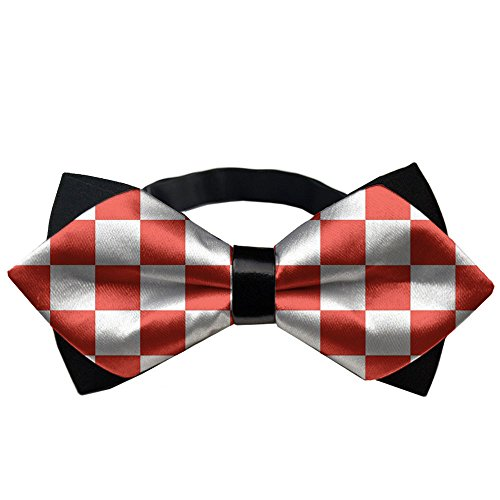 - YEAHSPACE Mens Formal classical Red Checkered Banded Pre-tied Bow Ties
