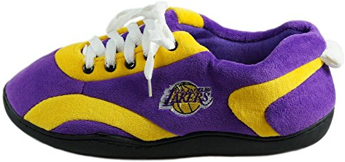 Happy Feet and Comfy Feet Mens and Womens OFFICIALLY LICENSED NBA All Around Slippers Los Angeles Lakers 7EXNEI