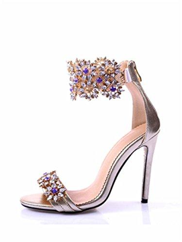 Azmodo Womens Lussuoso Strass Fiore Cristallo Peep Toe Sandali Abito Da Sposa 1624 Oro