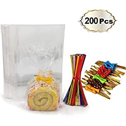 200 Clear Treat Bags with 200 Pcs Twist Ties 20 Bowknot 5 Colors,Clear Cellophone Bags Party Favor Bags for Lollipop Cake Pop Candy Buffet Chocolate Cookie Wedding Supply (4'' x 6'')