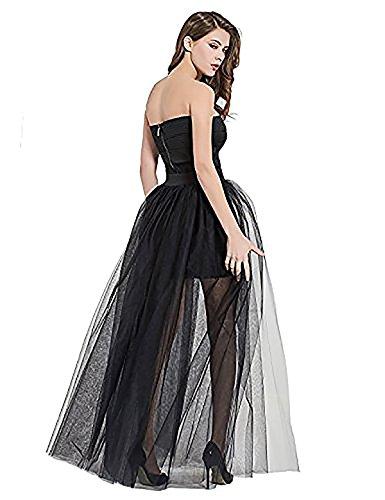 Women's 4 Layers Overlay Long Tulle Skirt Overskirt Floor Length Tutu for Wedding Party (Length Tutu)