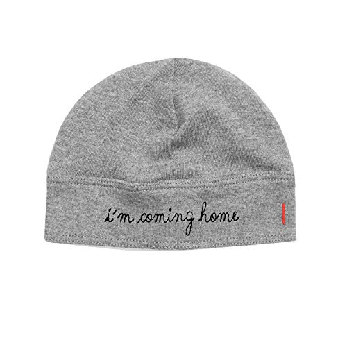1212 Unisex Baby Hat Fitted Newborn Size - I'm Coming Home Embroidery - 100% Organic Pima Cotton (Heather Grey)