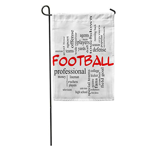 Semtomn Garden Flag Football Word Cloud in Red Caps Great Terms Such As Home Yard House Decor Barnner Outdoor Stand 28x40 Inches Flag