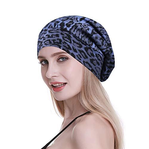 (FocusCare Elastic Slap Headwear for Long Frizzy Hair Sleep Slouchy Beanie Purple Leopard)